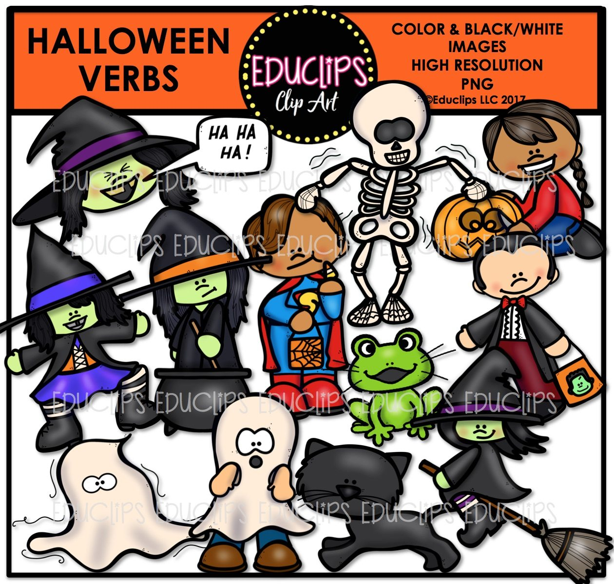 Halloween Verbs Clip Art Bundle Color And B W Edu Clips