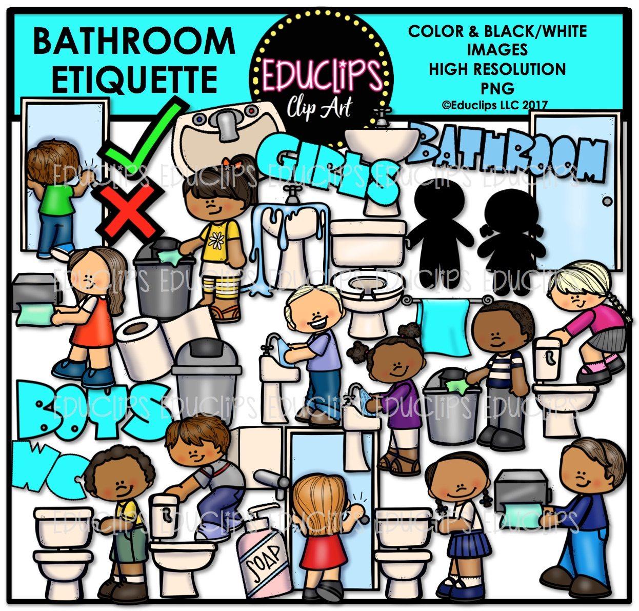 Kitchen Sink Etiquette: Bathroom Etiquette Clip Art Bundle (Color And B&W