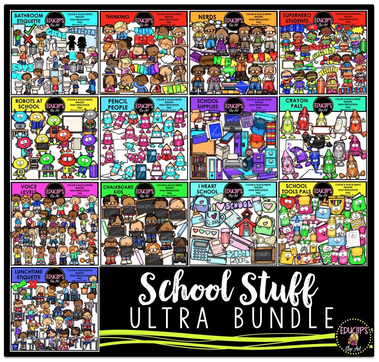School Stuff Clip Art Ultra Bundle (Color and B&W)