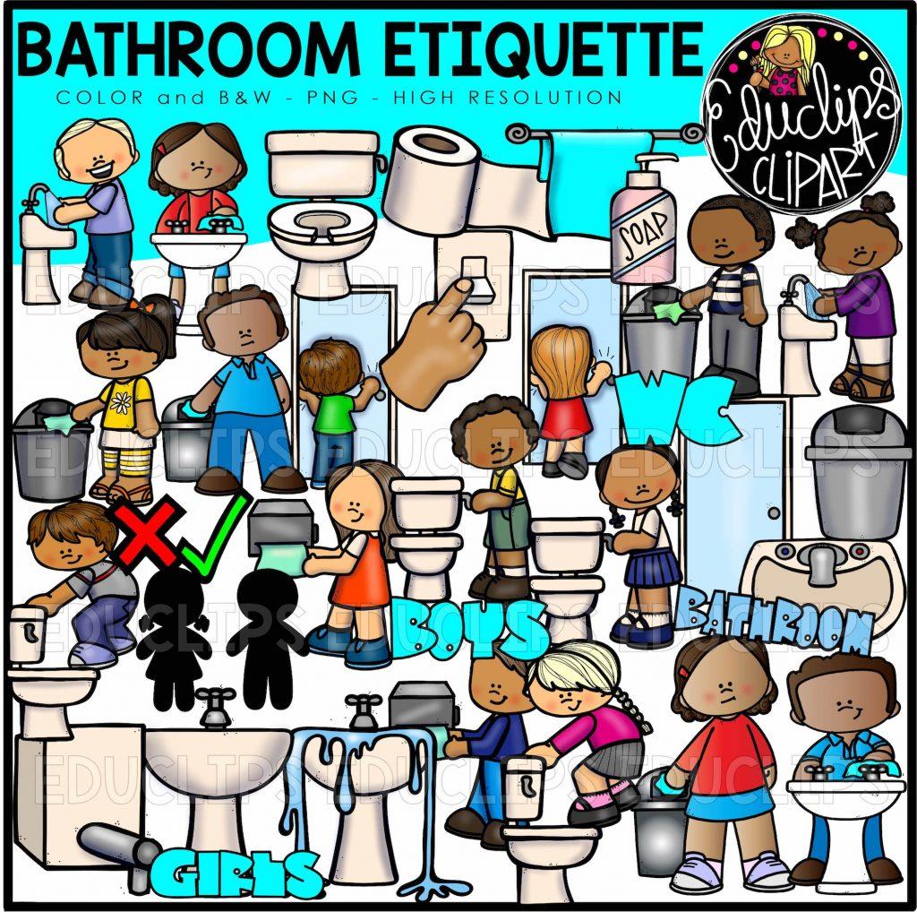 Bathroom Etiquette Clip Art Bundle (Color and B&W) - Edu Clips
