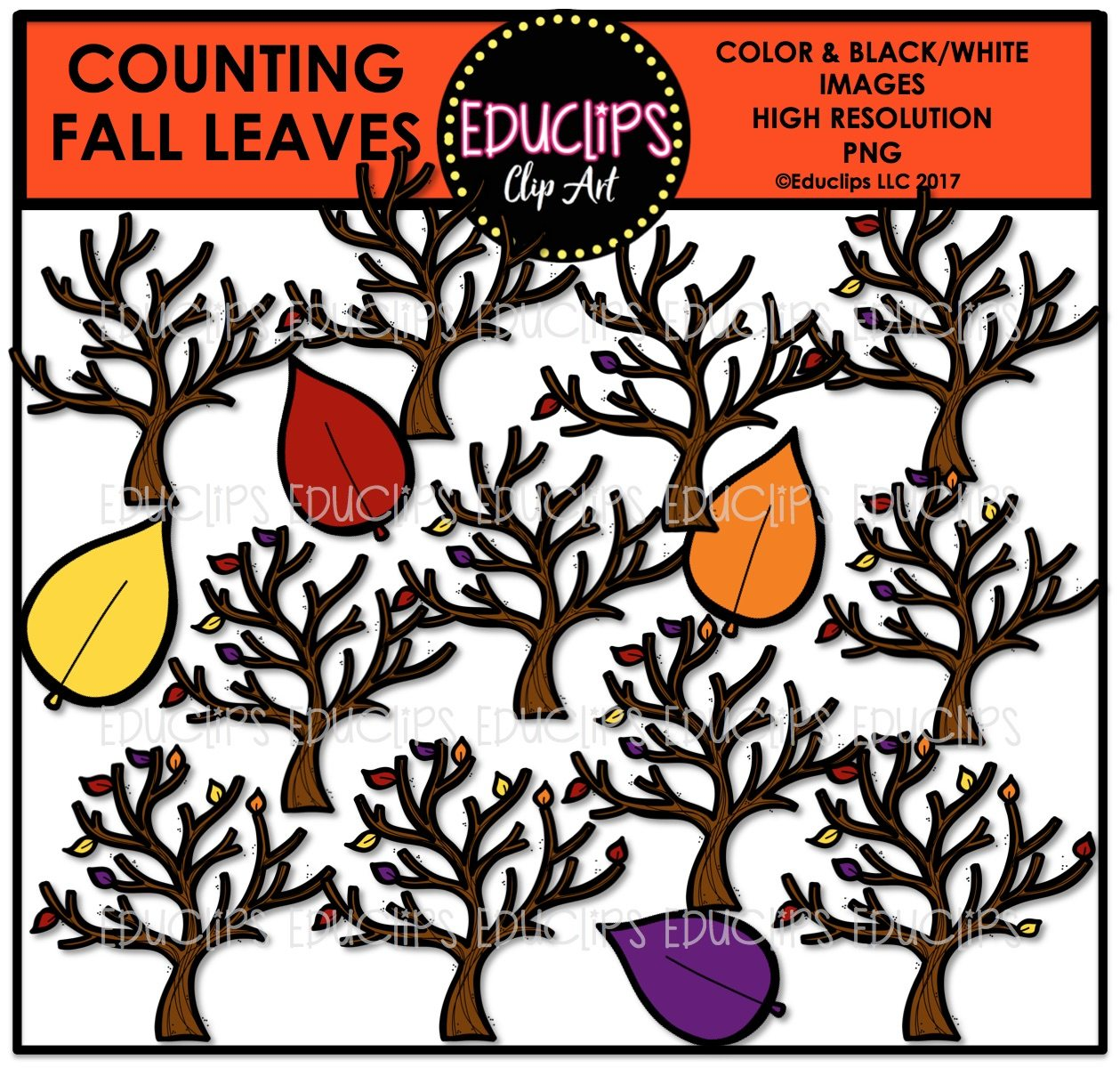 - Counting Fall Leaves Clip Art Bundle (Color And B&W) - Edu Clips