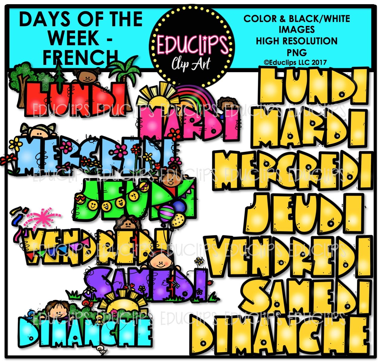 days of the week french clip art bundle color and b w welcome to educlips store. Black Bedroom Furniture Sets. Home Design Ideas