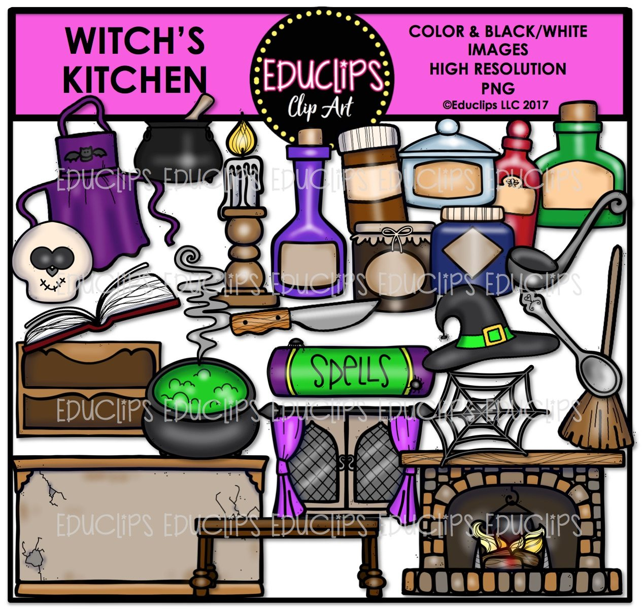 Kitchen Window Clip Art: Witch's Kitchen Clip Art Bundle (Color And B&W)