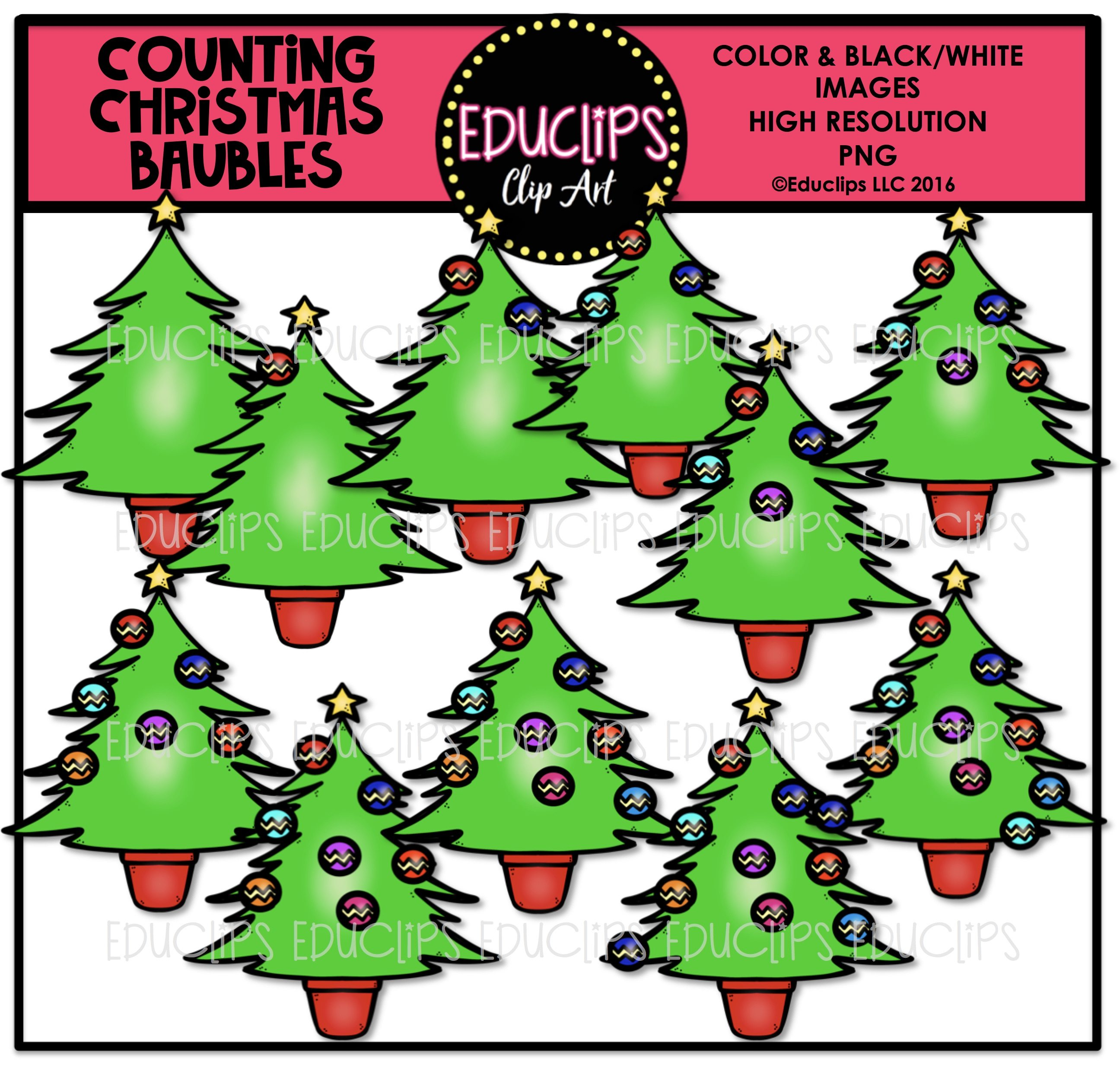 Christmas Counting Clip Art Big Bundle (Color and B&W) - Welcome to ...