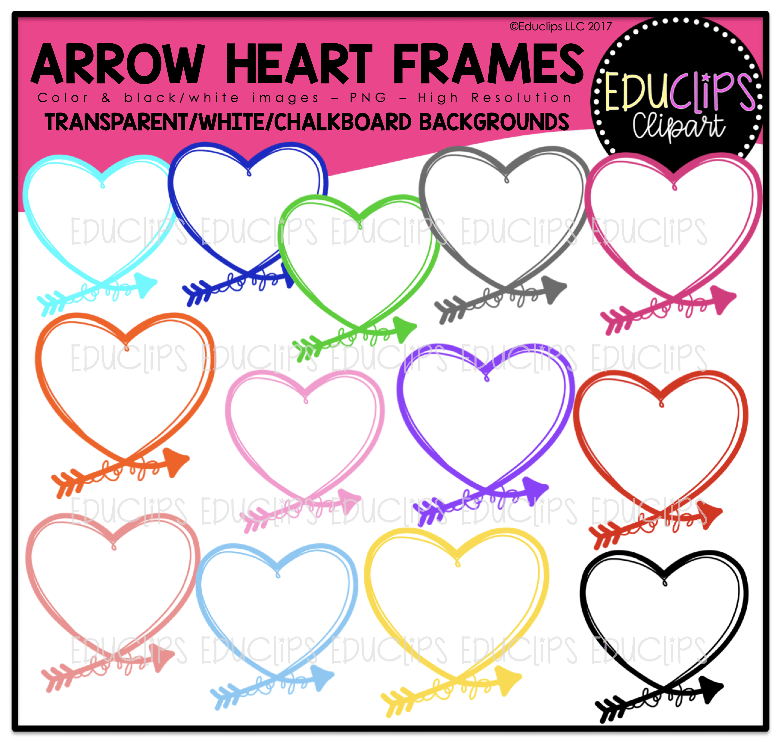 Arrow Heart Frames Clip Art Bundle - Welcome to Educlips Store