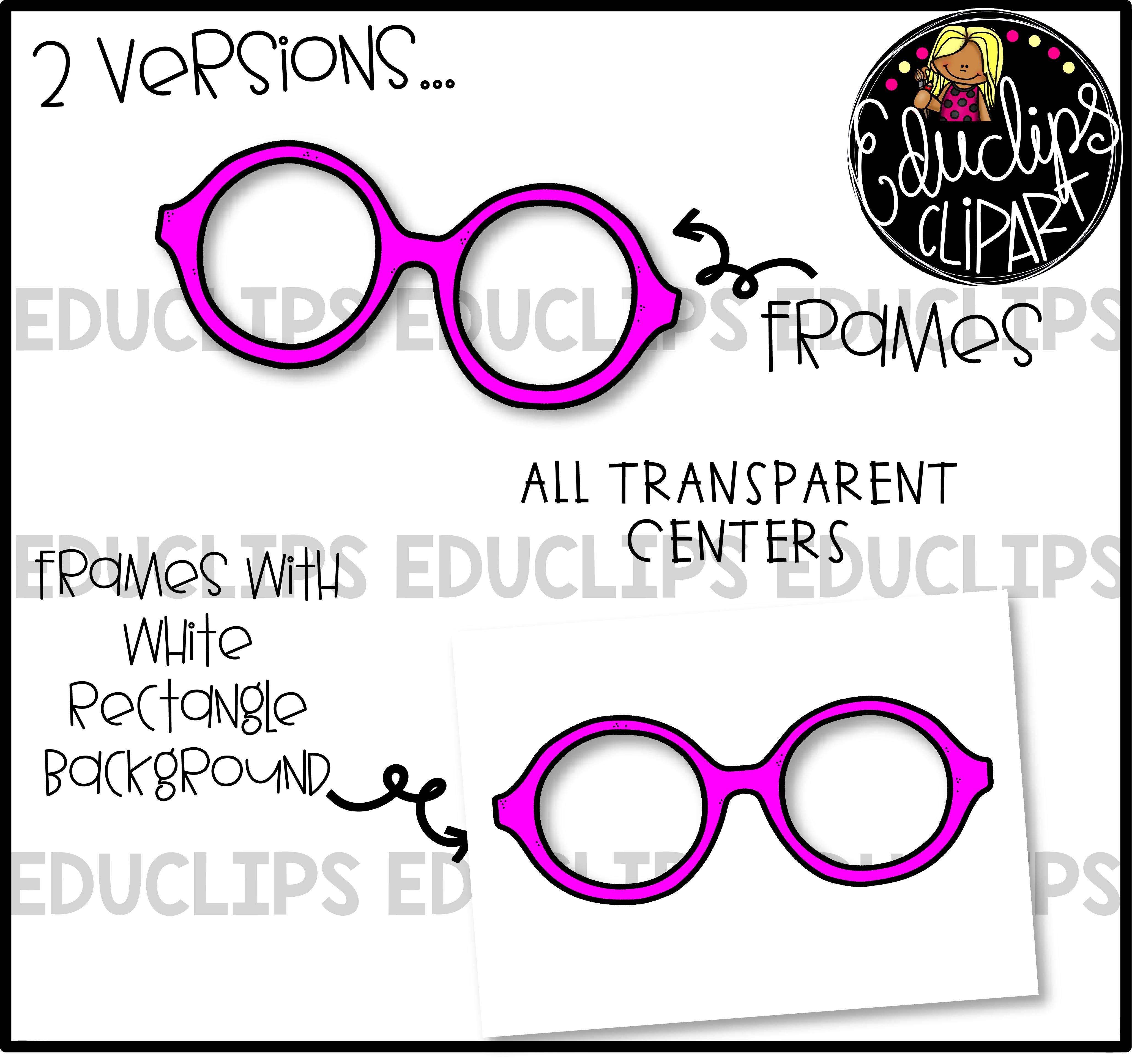 Colorful Glasses - Transparent Centers Clip Art Bundle (Color and ...