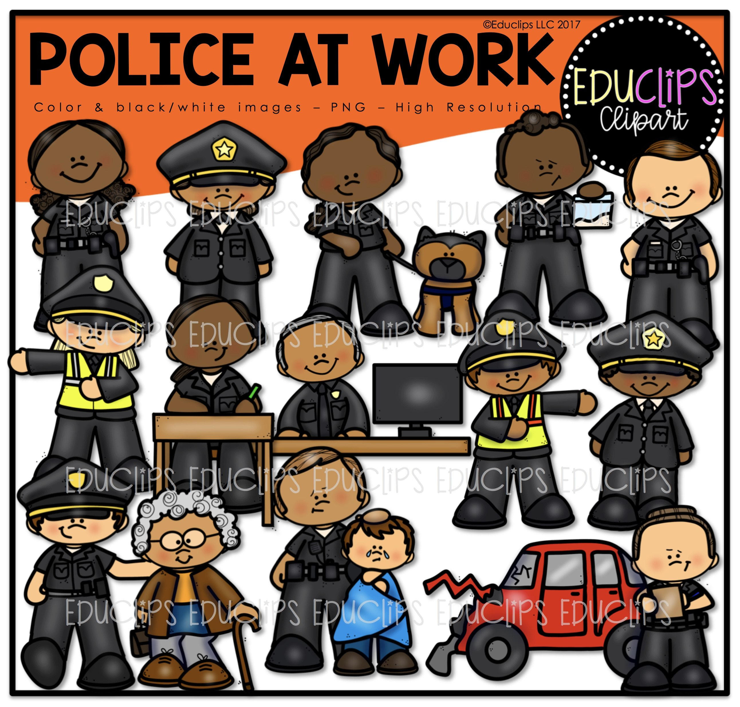 police at work clip art bundle color and b w welcome to educlips
