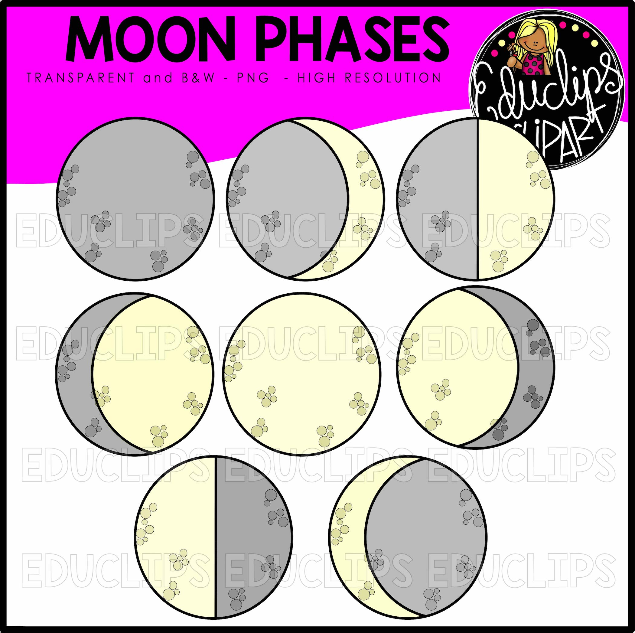 Moon Phases Clip Art Bundle Color And BW