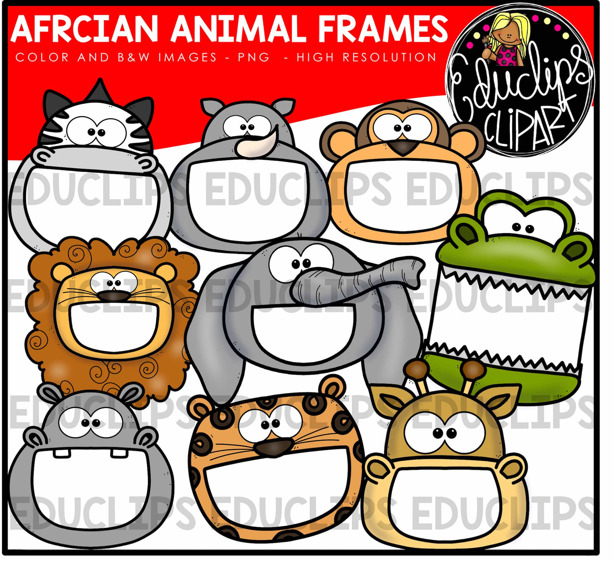 African Animal Frames Clip Art Bundle (Color and B&W) - Welcome to ...