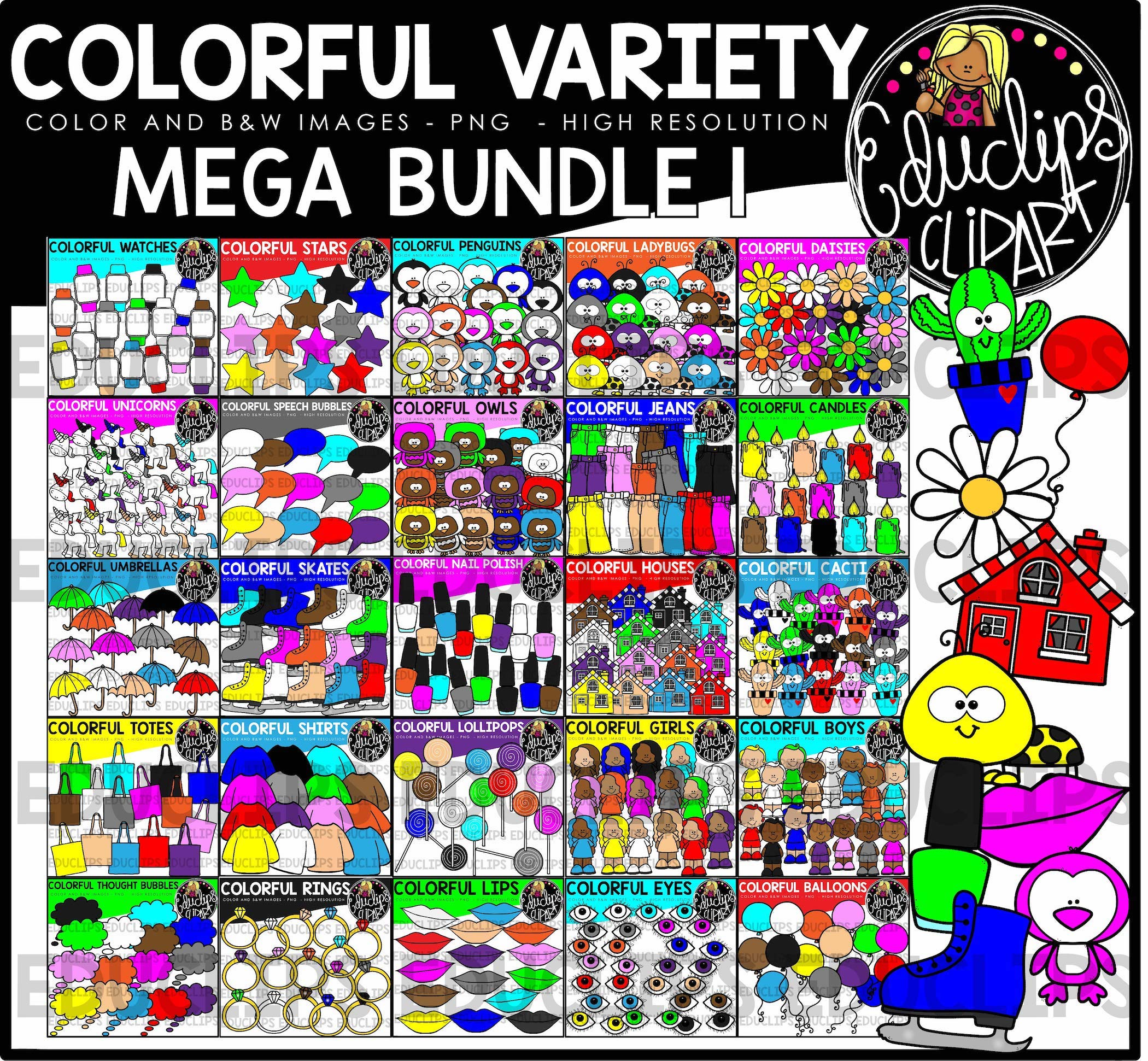 colorful variety clip art mega bundle color and bampw