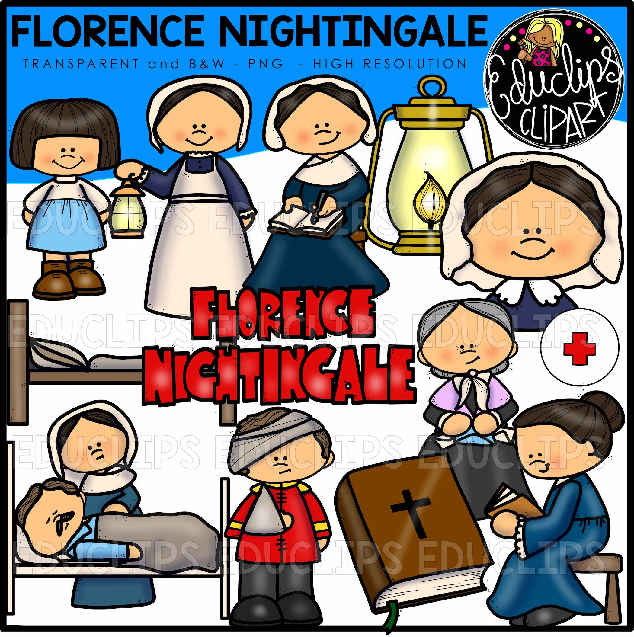 Florence nightingale clip art bundle color and b w for Florence nightingale lamp template