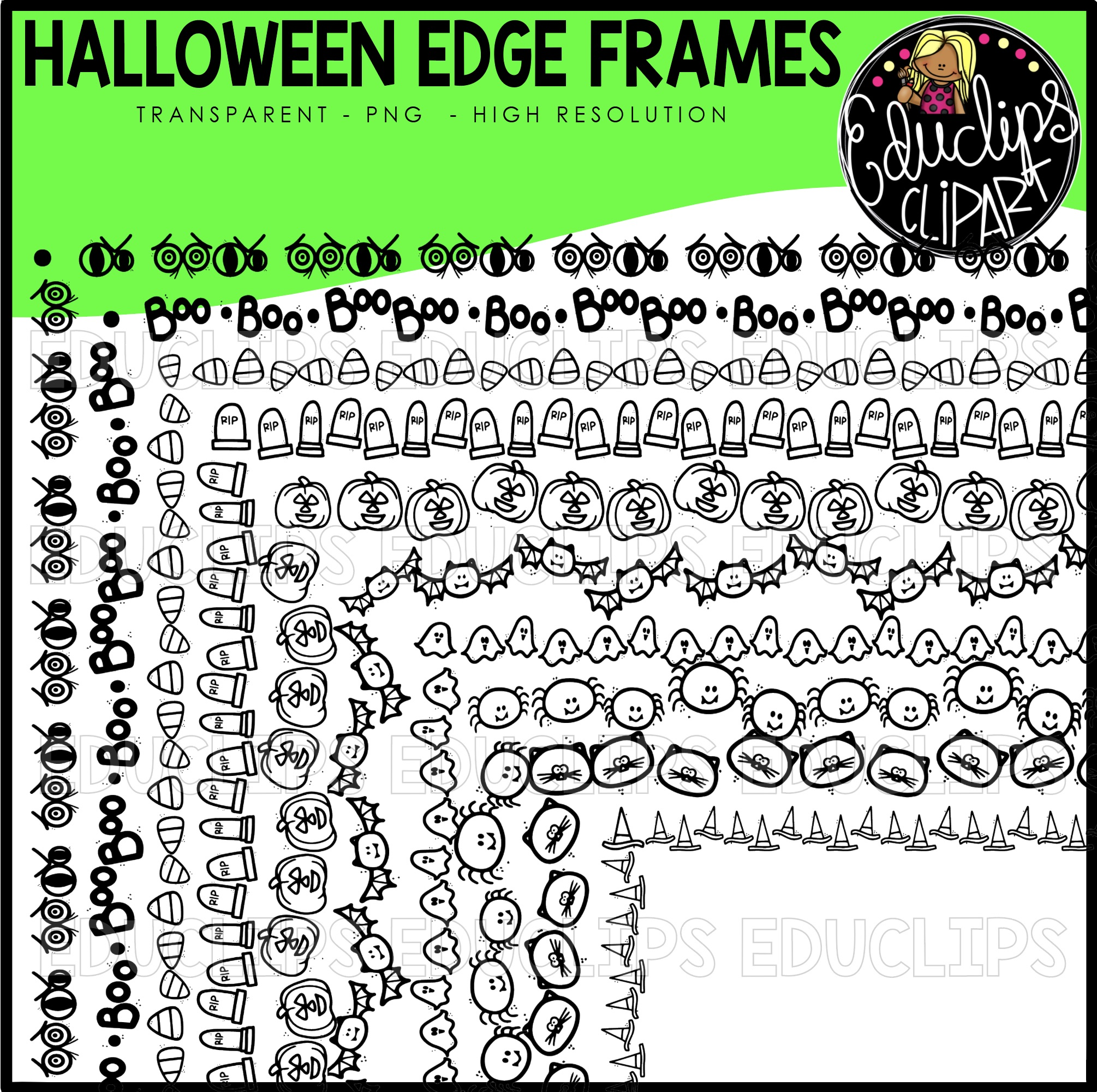 halloween edge frames clipart set (black images) - welcome to