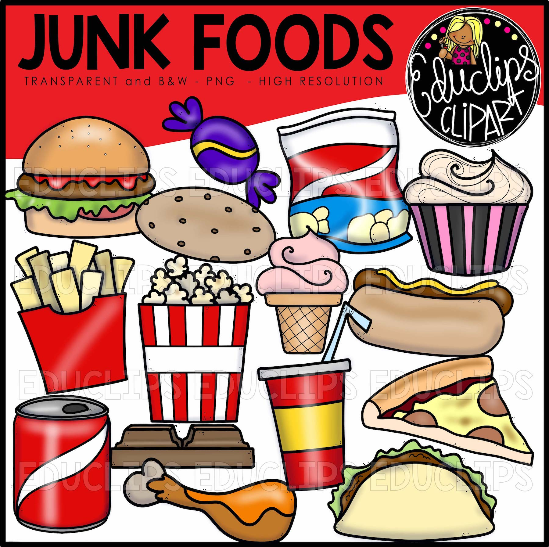 junk foods clip art bundle color and b w welcome to educlips store