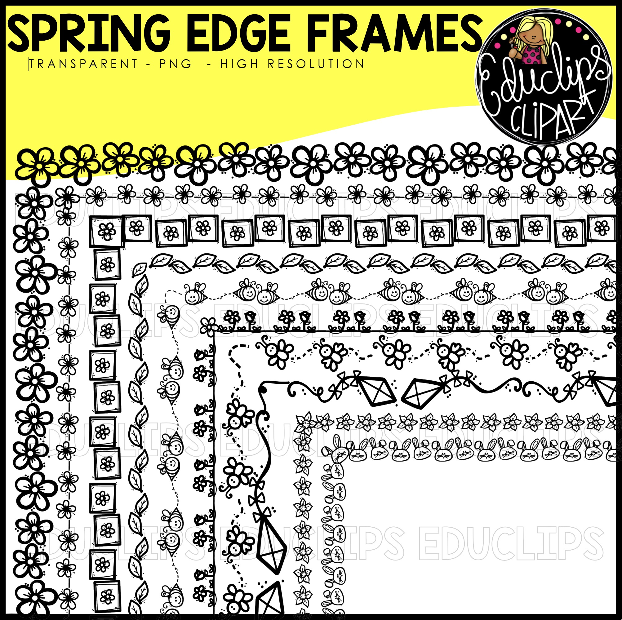 Spring Edge Frames Clip Art Set (Black images) - Welcome to Educlips ...
