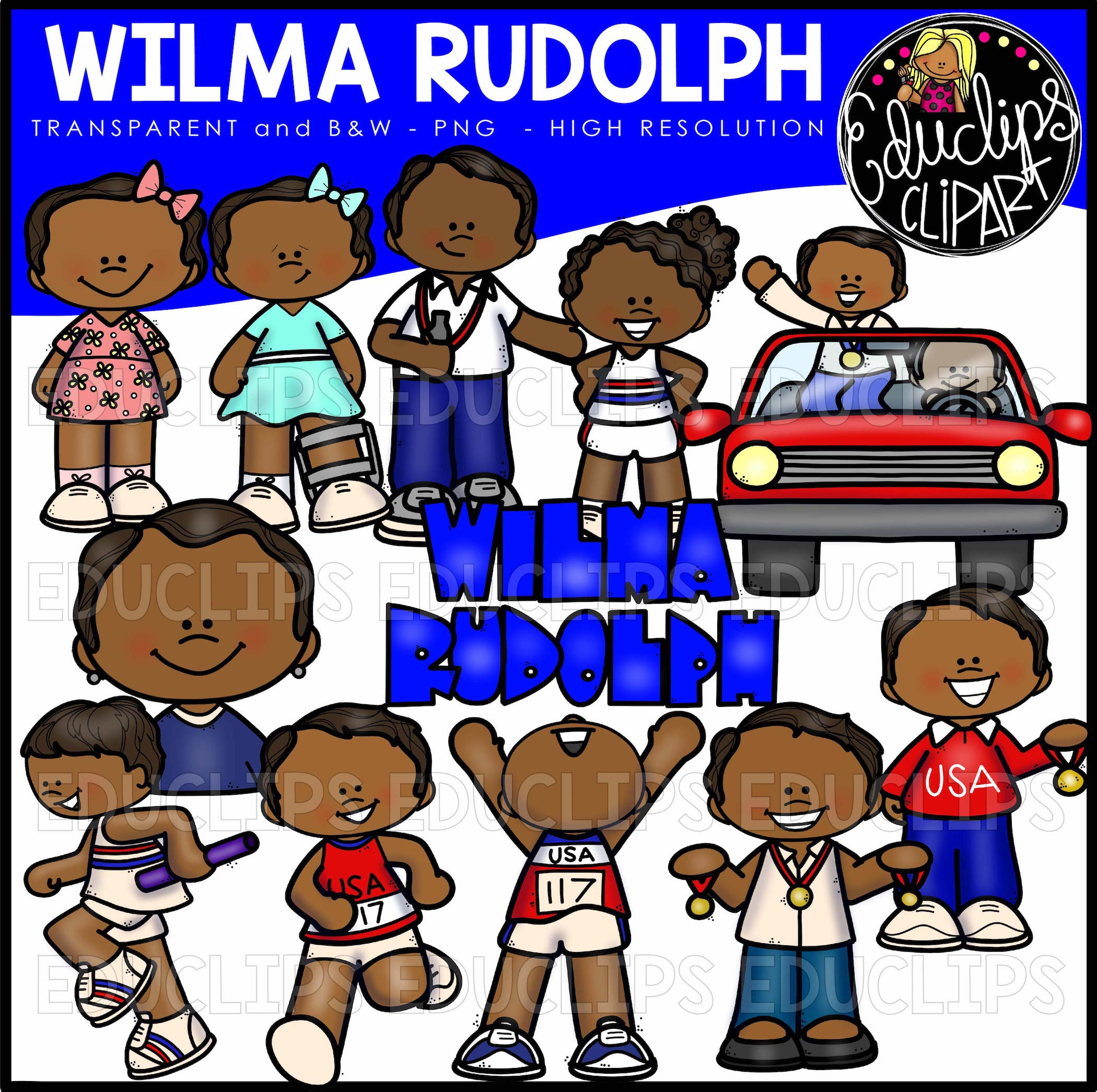 Wilma rudolph clip art bundle color and bw welcome to educlips wilma rudolph voltagebd Choice Image