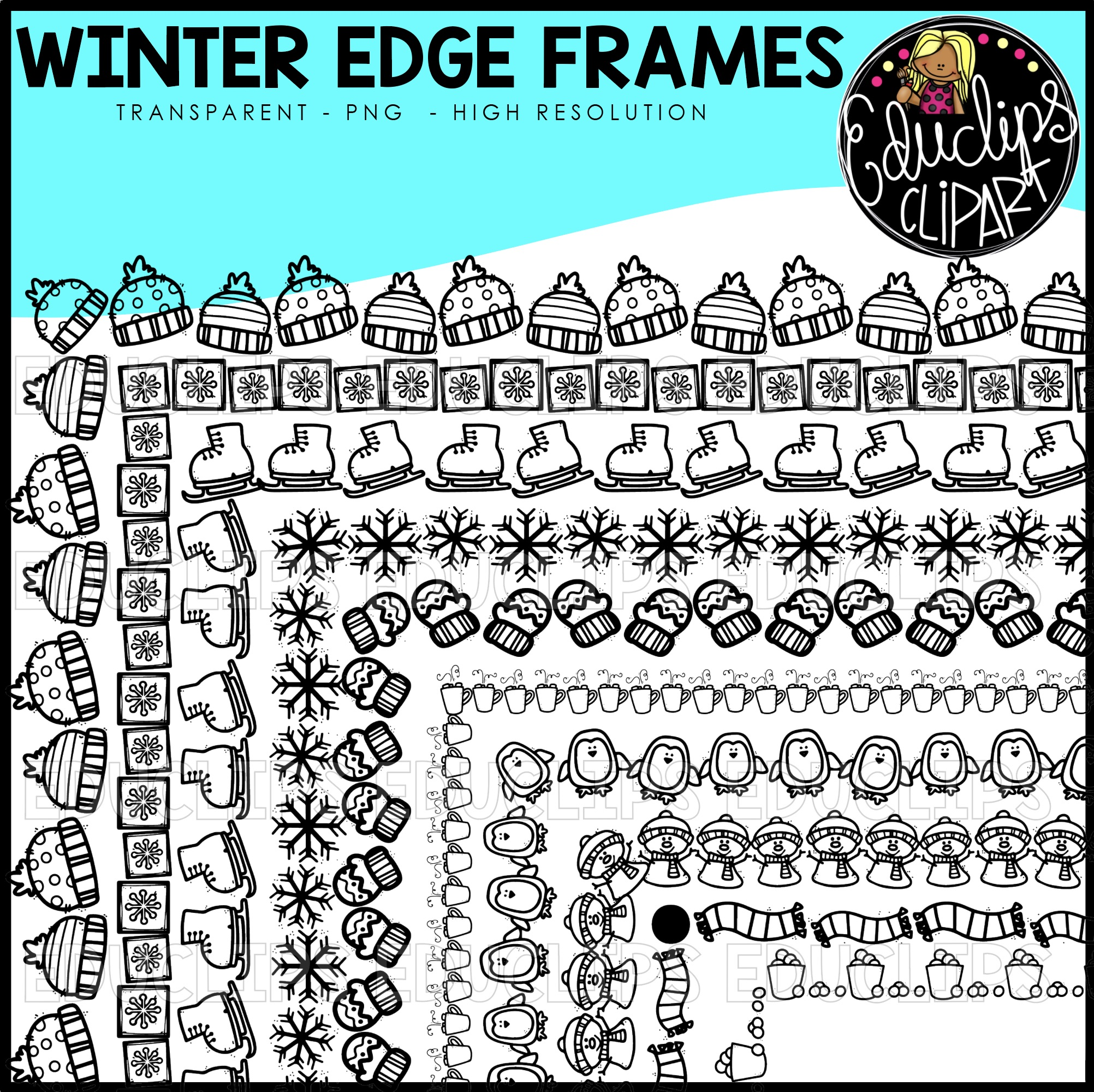 Winter Edge Frames Clip Art Set (Black images) - Welcome to Educlips ...