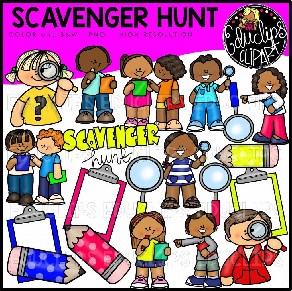 Scavenger Hunt Clip Art Bundle (Color And B&W)
