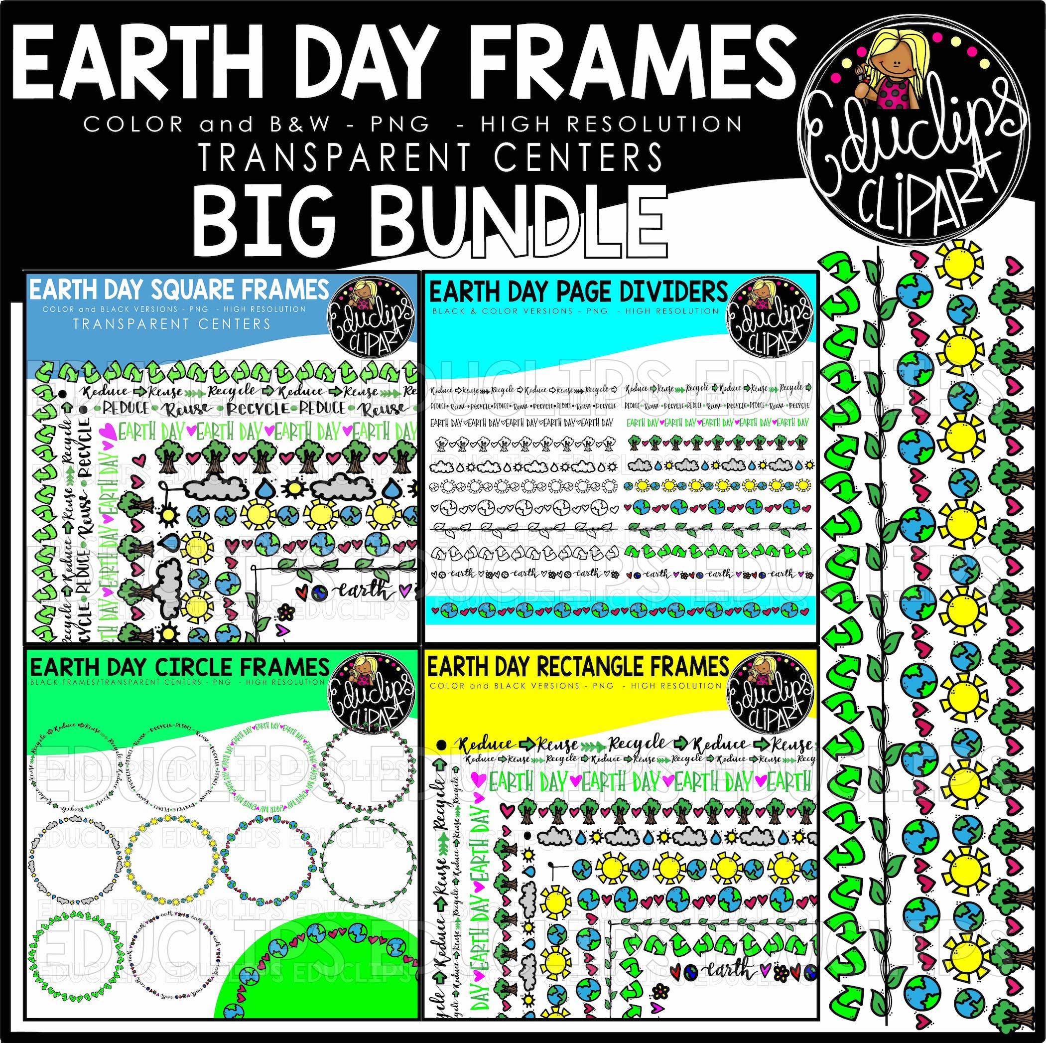 Earth Day Frames Big Bundle Black Amp Color Welcome To