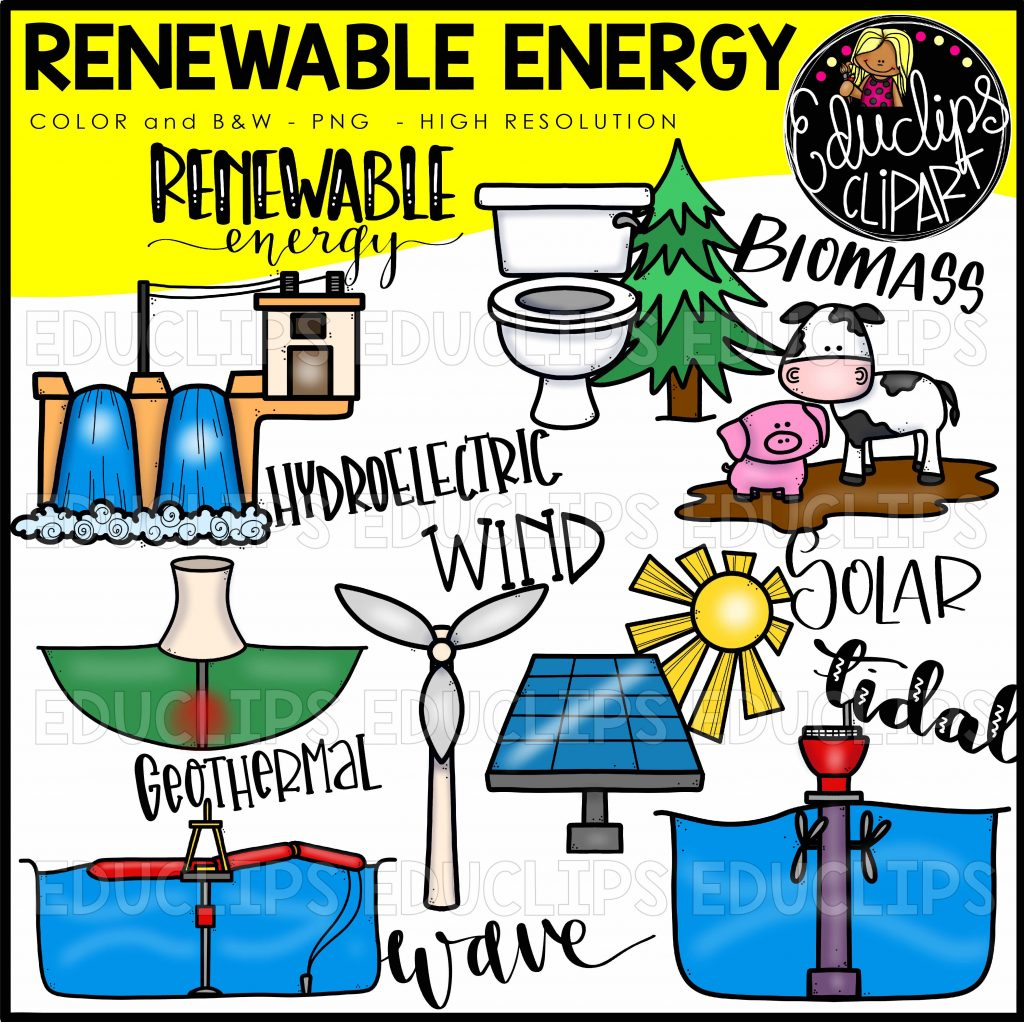 renewable energy clip art bundle color and bampw welcome