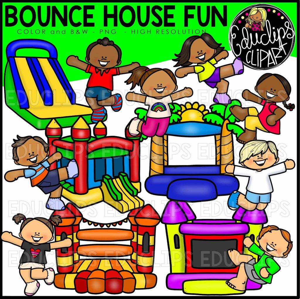 Bounce House Fun Clip Art Bundle Color And BampW