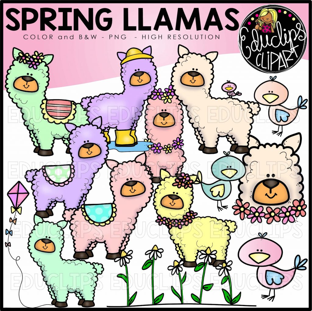 spring llamas clip art set welcome to educlips store