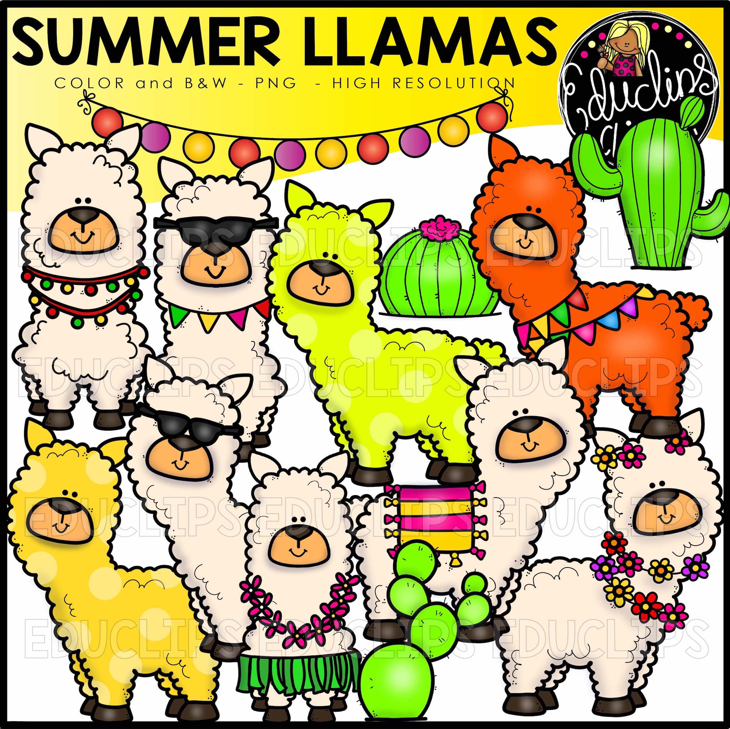 Seasonal Llamas Clip Art Big Bundle - Edu Clips