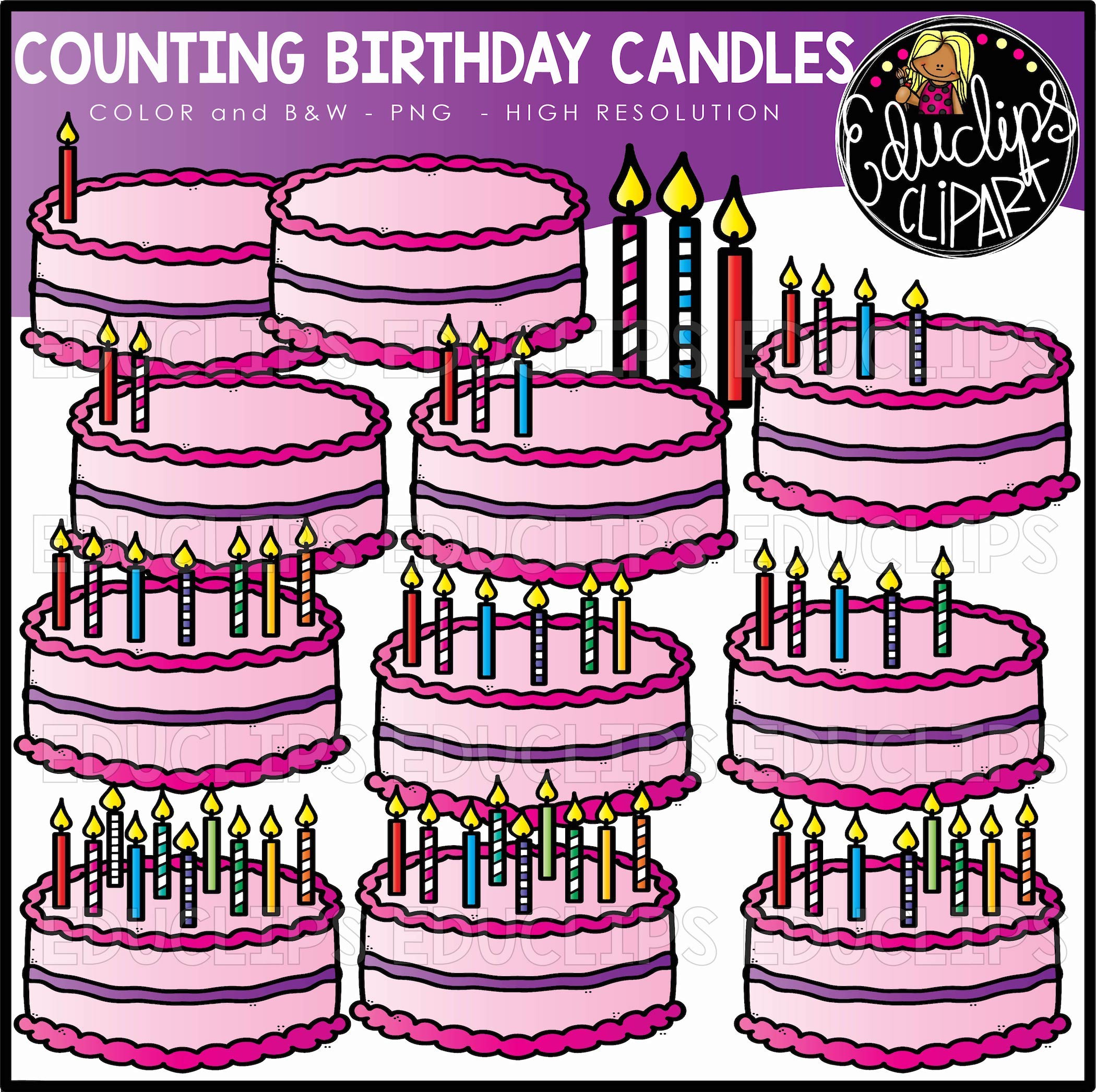Counting Birthday Candles Clipart Set