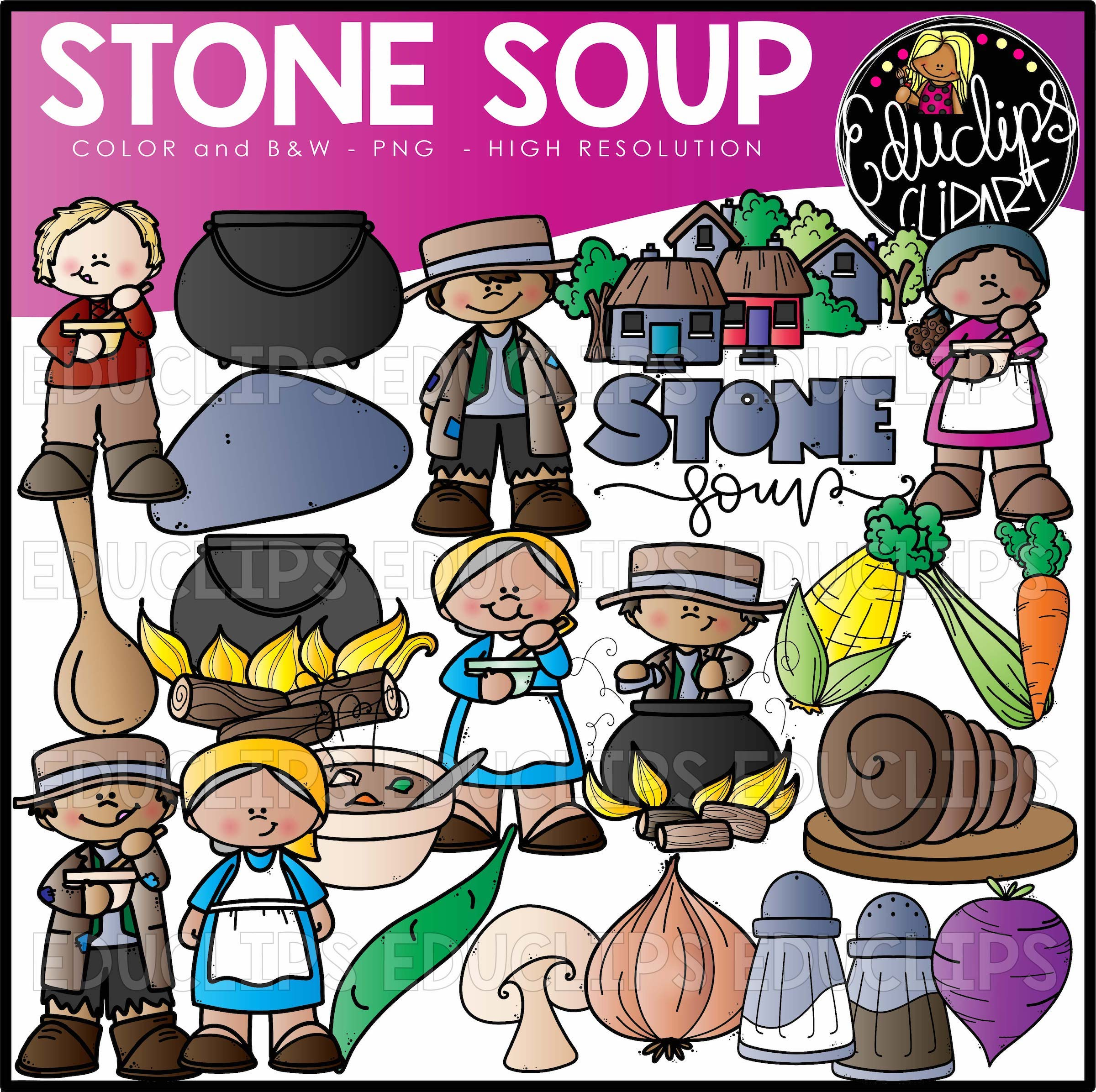Stone Soup Clip Art Set Welcome To Educlips Store