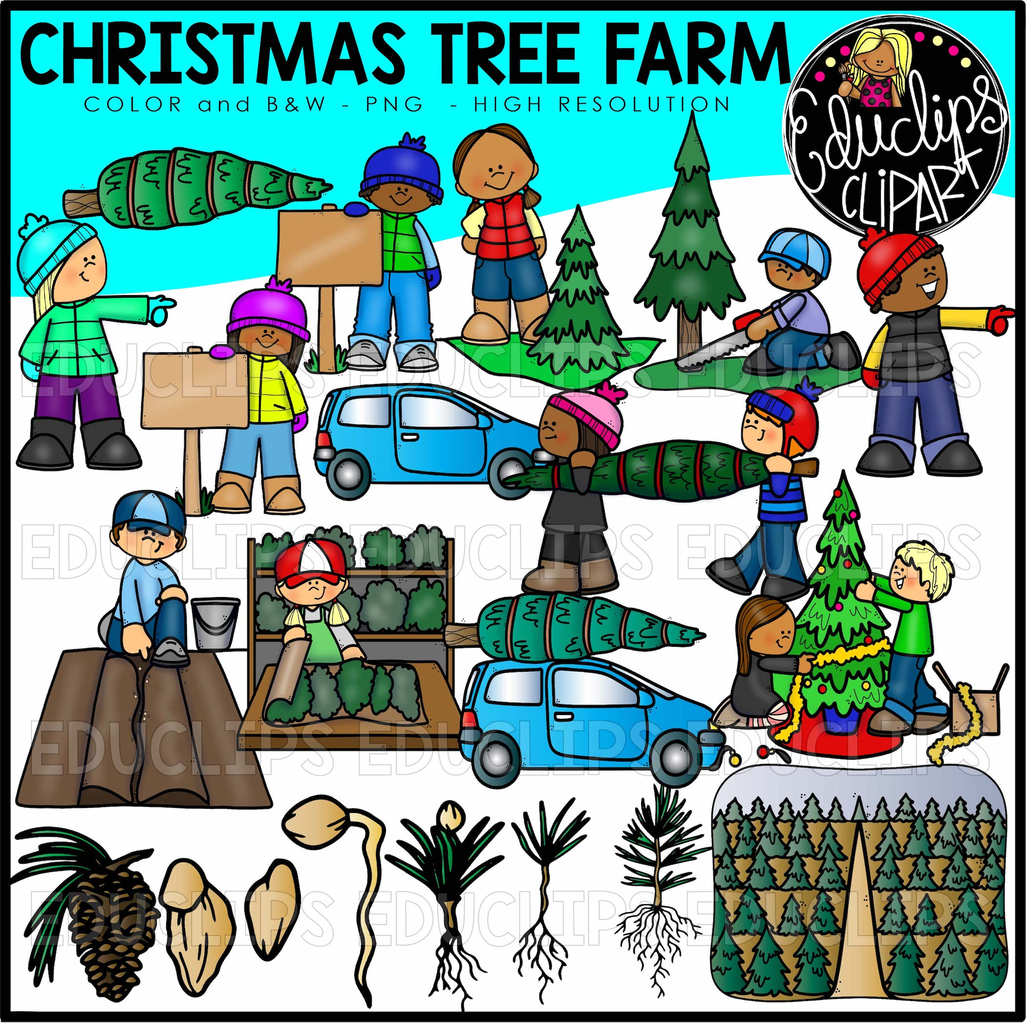 Christmas Tree Farm Clip Art Set Edu Clips The farm has a tall wooden fence around its southwestern entrance and houses a forest of large trees and apple trees, with red mushrooms and shaggy manes randomly dispersed on the ground throughout. christmas tree farm clip art set