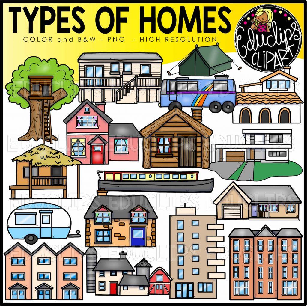 Types Of Homes Clip Art Set