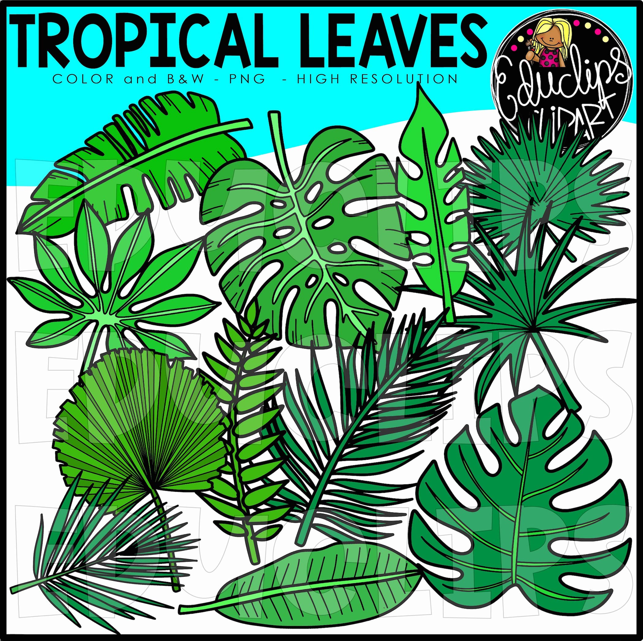 Tropical Leaves Clip Art Set Edu Clips Here you can explore hq tropical leaves transparent illustrations, icons and clipart with filter setting like size, type, color etc. tropical leaves clip art set