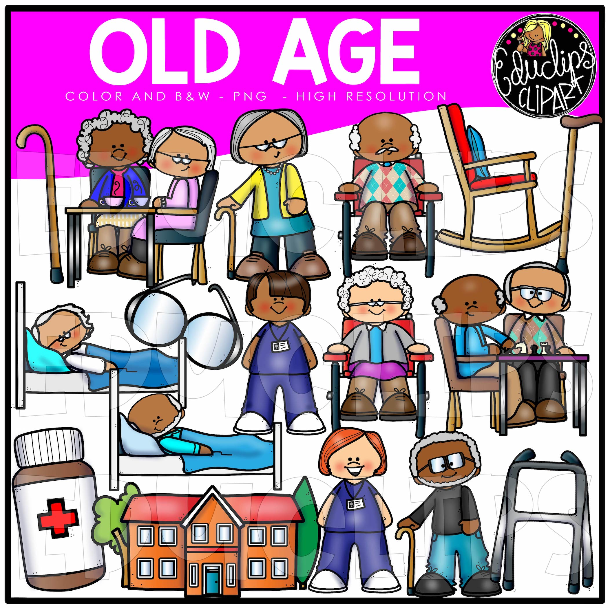 Old Age Clip Art Set Edu Clips