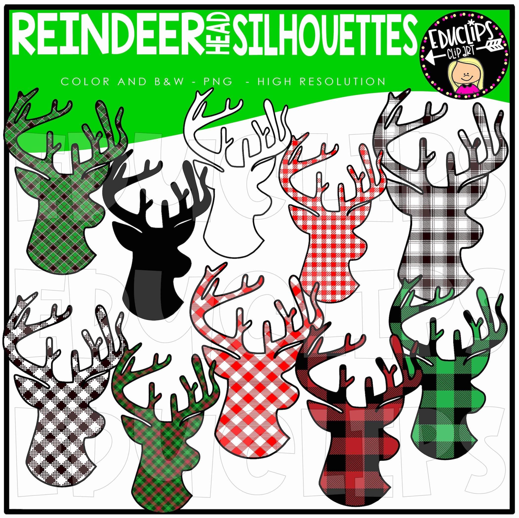 Reindeer Head Silhouettes Clip Art Set - Edu Clips